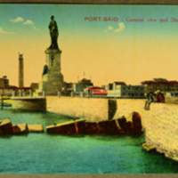 Port - Said, General View and Statue of Lesseps
